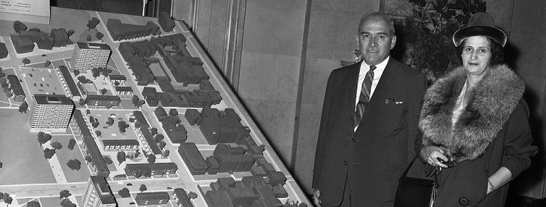 Inauguration du plan Dozois: Habitations Jeanne-Mance, Montréal, 15 octobre 1959, Rhéal Benny, Archives de la Ville de Montréal, VM94-Z769-06