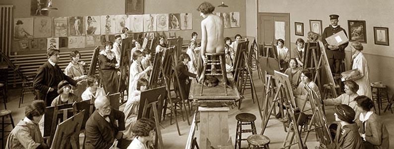 Atelier de dessin ou de peinture, 1924, Rice Montréal, Archives UQAM, École des beaux arts, Boîte 2247, Chemise C2