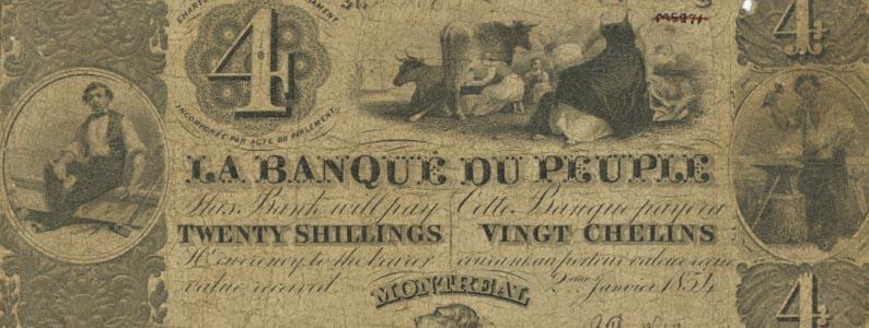 Monnaie, Vingt chelins, La Banque du Peuple, 1854, Musée McCord, M16638