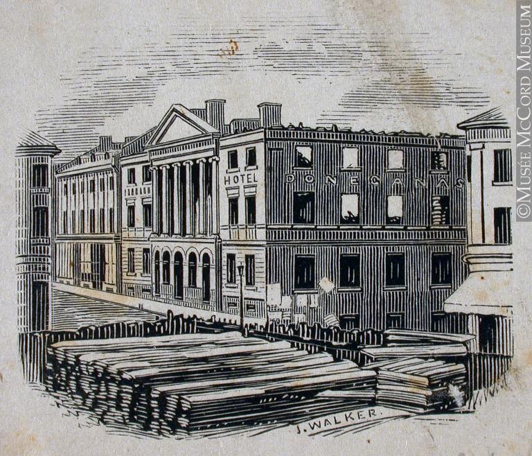 1854, Ruines de l'Hôtel Donegana, Montréal, John Henry Walker, Musée McCord, M930.50.7.334