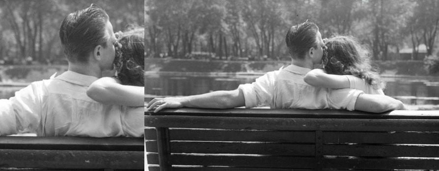 Amoureux assis sur un banc du parc Lafontaine à Montréal, 1947, Conrad Poirier, BAnQ, P48,S1,P15120
