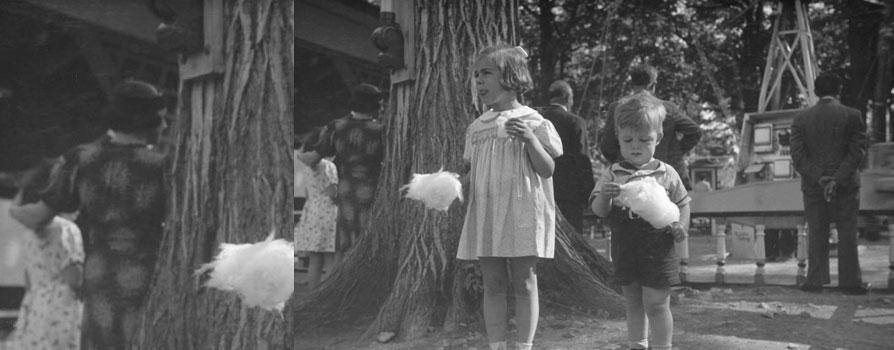 Deux jeunes enfants au parc Belmont, Cartierville, 1937, Conrad Poirier, BAnQ, P48,S1,P1075