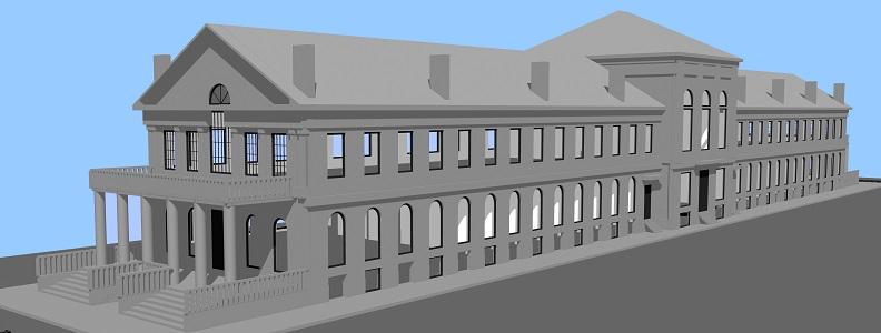 Modélisation par l'équipe du Laboratoire. Vue de la façade ouest du Marché Saint-Anne, 2015, Laboratoire d'histoire et de patrimoine de Montréal