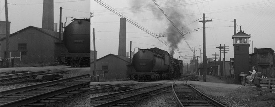 Traverse de trains, Saint-Henri, 29 août 1945,Conrad Poirier, BAnQ, P48,S1,P11912
