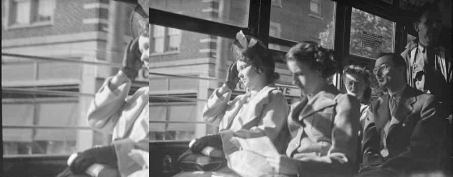 Voyageurs dans le tramway à l'heure de pointe, 1941, Conrad Poirier, BAnQ, P48,S1,P6879