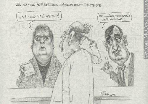 Les 47 000 infirmières désavouent l'entente, Dessin, caricature, Serge Chapleau 1999, Musée McCord, M2000.93.53