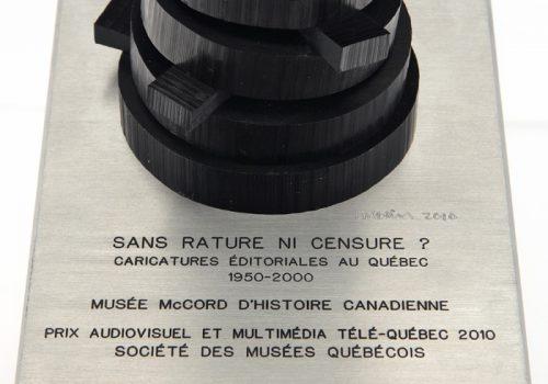 Prix Audiovisuel et multimédia Télé-Québec de la Société des musées québécois attribué au Musée McCord pour son exposition virtuelle «Sans rature ni censure? Caricatures éditoriales au Québec 1950-2000», 2011