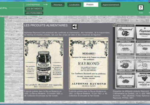 Exemple de page dans le menu portant sur l'entreprise, Borne interactive présentée dans le cadre de l'exposition «Confitures et marinades Raymond, faites pour plaire!» et «Nourrir le quartier, nourrir la ville» de l'Écomusée du fier monde