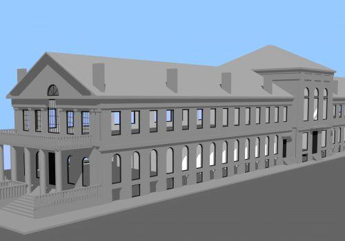 Façade sud du Marché Sainte-Anne selon le projet d'architecture de 1832, Modélisation réalisée par Nathalie Charbonneau, Laboratoire d'histoire et de patrimoine de Montréal
