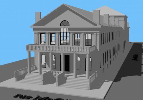 Façade ouest du Marché Sainte-Anne selon le projet d'architecture de 1832, Modélisation réalisée par Nathalie Charbonneau, Laboratoire d'histoire et de patrimoine de Montréal