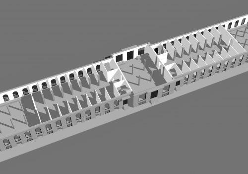 Rez-de-chaussée du Marché Sainte-Anne selon le projet d'architecture de 1832, Modélisation réalisée par Nathalie Charbonneau, Laboratoire d'histoire et de patrimoine de Montréal