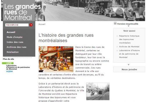 Saisie d'écran du site Web Les grandes rues de Montréal, 2017