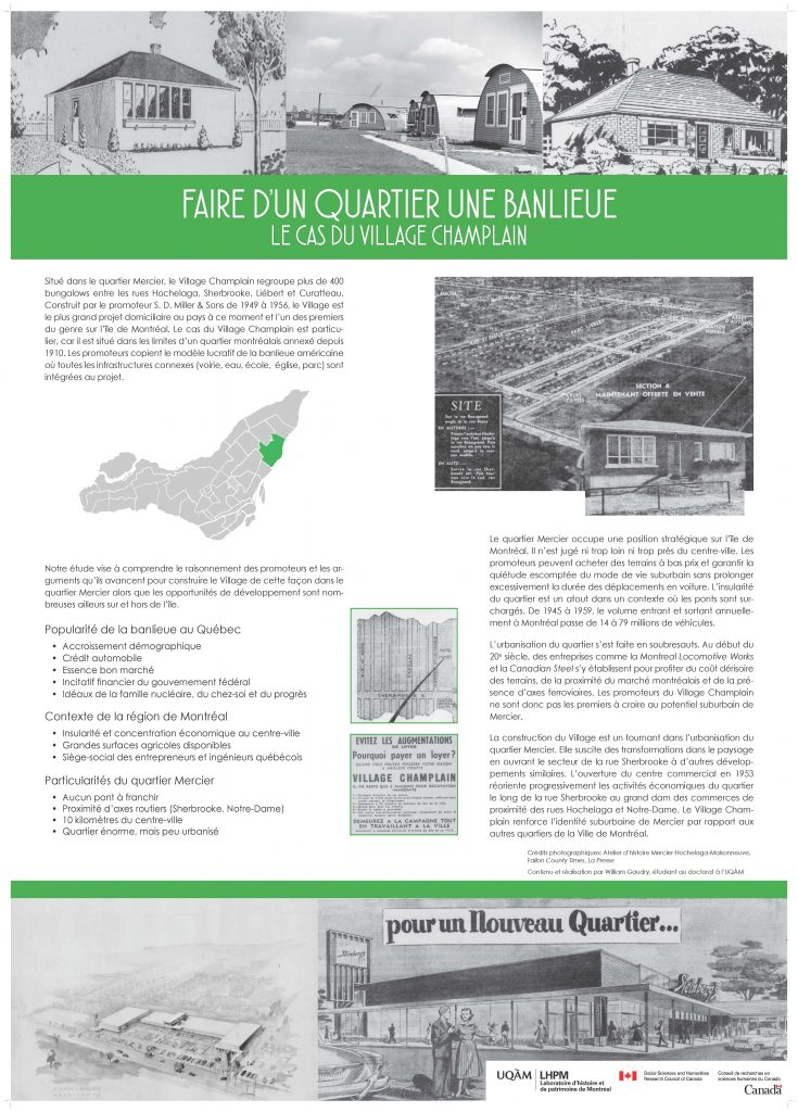 """Faire d'un quartier une banlieue: Le cas du village Champlain"" par William Gaudry"